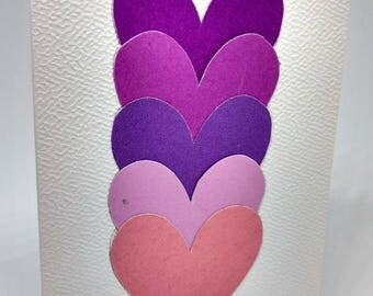 Greeting card - birthday card - series colored hearts