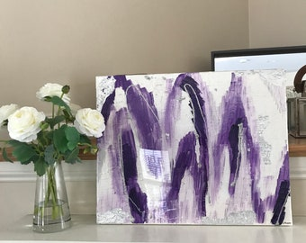 "Original Acrylic Abstract Art- Purple, Silver, White, Pearl, Silver Leaf with Resin Coat 16"" x 20"" on on Stretched Canvas"