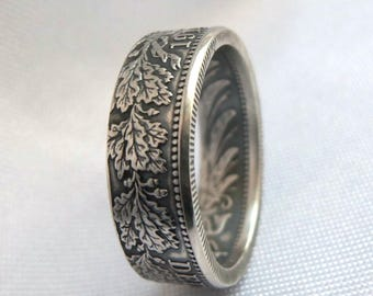 Germany Silver Coin Ring 1 Mark 1873-1916- Deutsches coin ring - 1 mark coin ring - Handcrafted ring