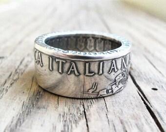 Кольцо из серебра 500 лир Италии