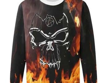 Military Skull Fire Fleece Sweatshirt Skull Hoodie, Skull Hoodies Skull Print, Scalp Hoodie, Gothic, Skeleton, Hooded, Top