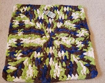 Blue, Green, Brown, Beige Lovey Baby Blanket