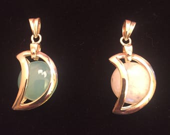 Moon Aquamarine or Moonstone, 925 Silver Pendant
