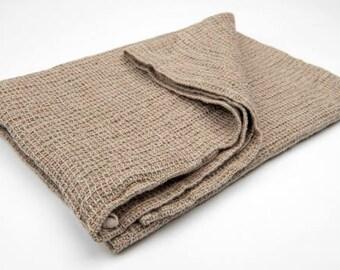 Brown linen bath towel, linen towel, waffle towel, eco linen, linen bath towel, washed towel,