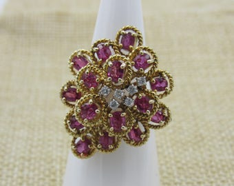 14K Vintage Ruby and Diamond Yellow Gold Ring