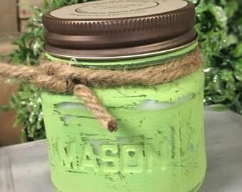 Coconut Lime Verbena Soy Wax Candle ~ 8 oz Mason Jar ~ Chalk Painted ~ Distressed