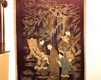 232x135cm Antique Chinese embroidered silk & cotton embroidery late Qing dynasty