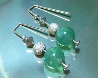 Jade and Crystal Silver earrings