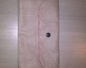 Laminated cotton linen pouch