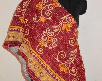 Reversible Indian  Handmade Vintage Cotton Kantha Stole Neck Wrap Scarf KS05