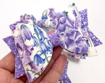 Made with Liberty Art fabric Lilac bluebells floral large double dolly hair bow clip headband spring summer kids