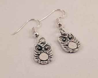 Teeny Tiny Owl Earrings, Small, Little, Holding Reflective Circle