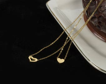 Cute Gold and Rose Gold Heart Shape Pendant Necklace