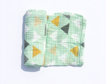 Muslin Swaddle Blanket / Organic Swaddle Blanket / Geometric Blanket / Baby Blanket / Baby Shower Gift / Baby Swaddle  / Triangles / Newborn