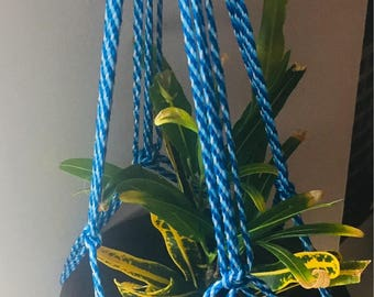 Blue Macrame Plant Holder