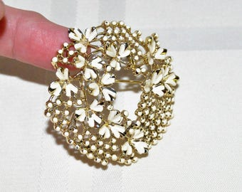 Vintage Signed Coro Brooch Gold Tone with White Enamel Flowers