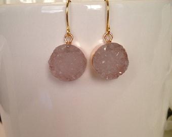 Druzy Earrings/ Pale Pink Druzy Earrings/ Gold Earrings/ Goft Idea/ Valentine's Day Gift