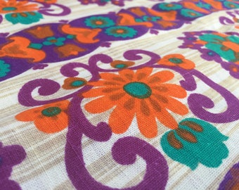 German vintage fabric 50cmx120cm Flower Power Orange Purple
