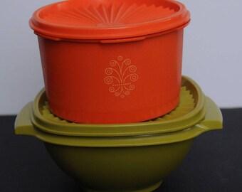 Vintage Tupperware Set Of 2 Harvest Colors