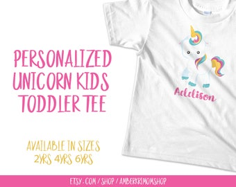 Toddler Tee, Toddler Shirt, Cute Toddler Tee, Cute Toddler Shirt, Custom Unicorn Toddler Tee, Personalized Unicorn Toddler Tee
