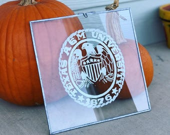 Aggie ring on glass frame/Texas Aggies/ Texas A&M Gift/Aggie Ring Glass Art/TAMU Gift/ Glass Wall Art