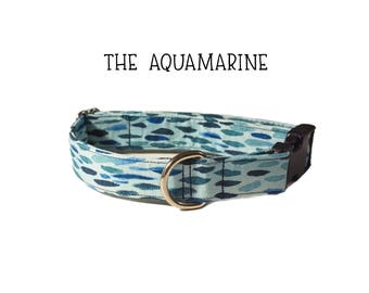The Aquamarine dog collar, blue dog collar, cute dog collar, aquamarine, sea, ocean dog collar, unique dog collar, paint splatter dog collar