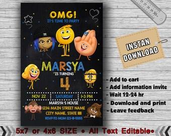 Emoji Invitation,Emoji Birthday Invitation,Emoji Party,Emoji Birthday,Emoji Invites,Emoji Printable,Girl Invitation,Emoji Card,Emoji-F0140