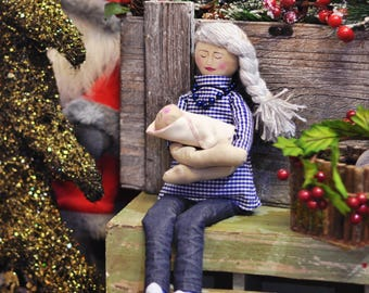 Silver hair HandMade Fabric Doll Tilda Christmas Gift Girl Hand Painted Craft Baby Room Rag Doll Personalized