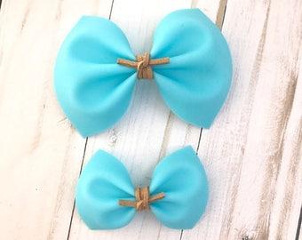 Blue jelly hair bow, baby headband, alligator clip, nylon headband, pigtail bows