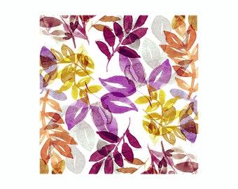 Leaves Print - Burgundy