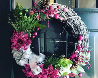 Hot pink holiday wreath!