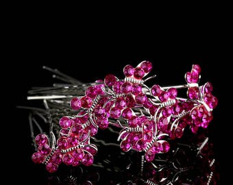 Clip hair Pic wedding set of 10 pink butterfly hair pin