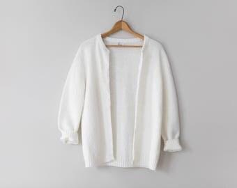 Vintage Cream Cardigan Sweater // Vintage 60's/70's Cardigan Sweater // Nobby Sweater // Women's Size Medium