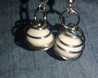 Wire Wrapped Tridacna Earrings