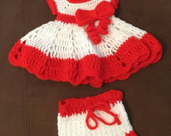 Crocheted baby girls dress with diaper cover
