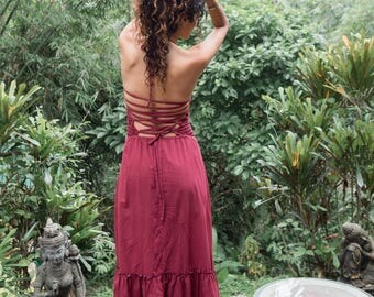 Tumbleweed dress - size 8-14 Organic natural dye plum wine cotton farmers wife corset top fallen angel boho gypsy spring sunset Moondance