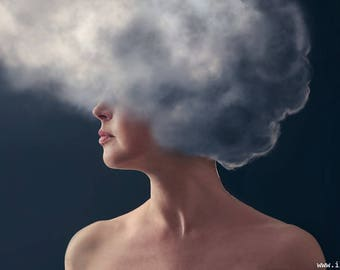 Head in clouds (photography)