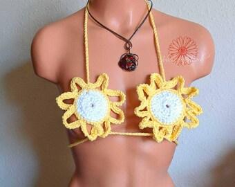 Yellow flower Bikini top, yellow lingerie, Anniversary gift, white bikini, wife gift, gift for her, bikini, itty bitty bikini, sexy bikini