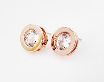 Rose Gold and Crystal Stud Earrings, Big Round Rose Gold Earrings, Large Rose Gold Stud Earrings for Pierced Ears, Simple Rose Gold Earrings