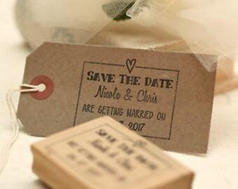 Save The Date wedding stamp / frame heart design