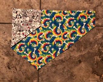Tie Dye Dog Bandana, Reversible Bandana, Over the Collar Dog Bandana