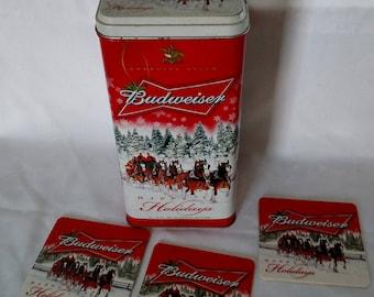 Vintage Budweiser Limited Edition tin w/3 Budweiser coasters