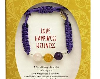 Love Happiness, Wellness Bracelet with Amethyst, Citrine, Rose Quartz
