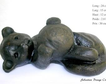 animal sculpture statue polished concrete cat