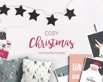 HUGE Christmas set- Digital Download Print. Gift tags, Gift cards, Patterns.