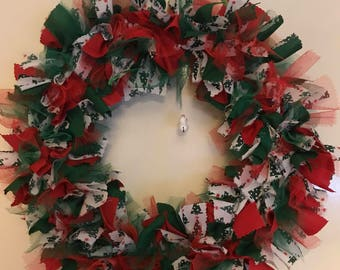Handmade Christmas Wreath with Snowman Bell