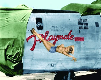 Vintage World War II b-24 b-25 b-29 b-26  bomber nose art pinup girls color photograph instant download