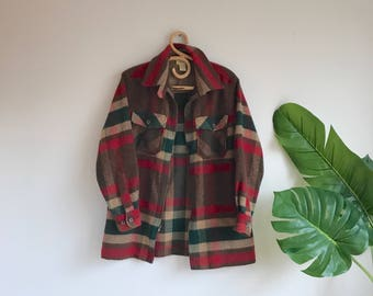 Vintage Red Plaid Wool Blend Flannel Shirt / Wool Plaid Zipper Size Small by Limited