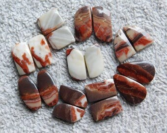 Lot! Pairs! Zebra jasper cabochons loose gemstone top quality handmade Amazing smooth polish one side flat 100% Natural 201.50cts, 9 Pairs.