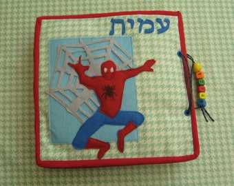 CUSTOM Quiet Book, Spiderman  Busy Book, Felt Activity Book,  Gift for Kid 3-6 years-6 pages